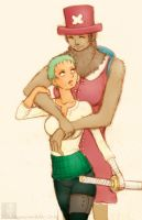 Genderbent Zoro and Chopper by CappuccinoBird