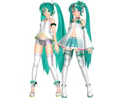 DT Cute Miku and Spiritual Miku DL Close by PiccolaGoccia