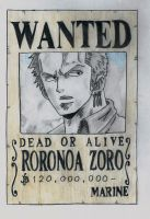 one piece, zoro wanted post by lea33