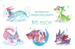 watercolor dragon-dogs - $15 - open by noewhit
