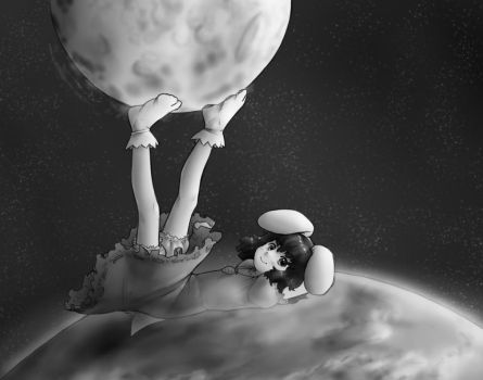 Tewi reaches for the moon by AlloyRabbit