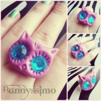 Pink owl ring by A-Spark-Of-Light