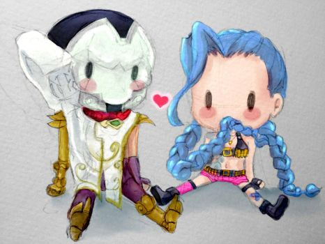Jhin and Jinx Chibis by Mihryza