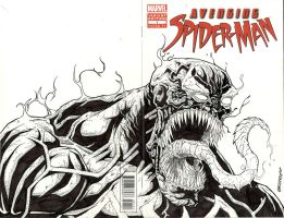 SPIDERMAN sketch cover w/ VENOM by drawhard