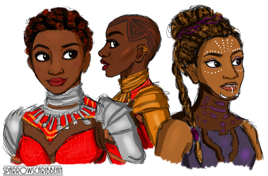 Wakandan Ladies by sparrowscaribbean