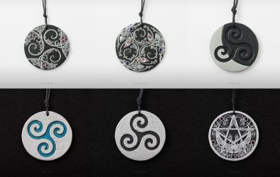 Five triskelions and a pentacle by tishaia