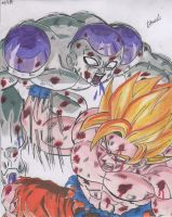 Goku SSJ VS Freezer 100% Power. by Ichirin-nohana