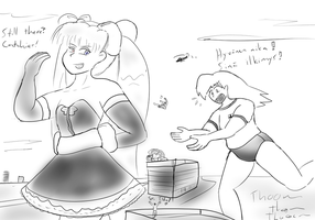Matilda throwing a tiny over shoulder by Feyzer
