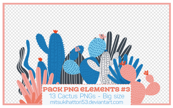 Pack PNG Elements 3 - CACTUS by mitsukihattori53