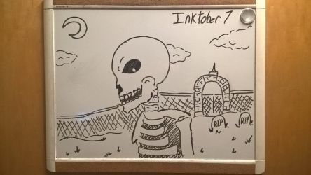 Inktober Day 7: Spooky Scary Skeleton by PKBChaz