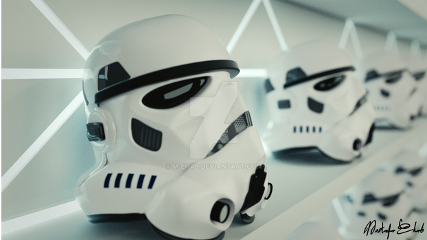 Stromtroopers row of helmets - 3D by M-Ehab