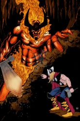 Thor vs Surtur color by Zuperkrypto