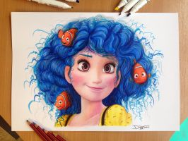 Dory Color Pencil Drawing by AtomiccircuS