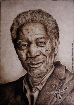 Pyrography Morgan Freeman by Ikito-kun