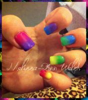 Rainbow Gel nails by hugmemel