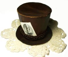 Mini Leather and Lace Top Hat by salvagedsword