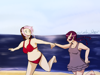 Song of Heroes - Mina and Yulin Beach Date by cheshjabber