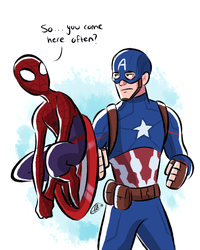 Perching on the Shield : Cap and Spider-man by xxiiCoko