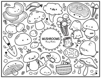 Mushroom Colouring Sheet by RoseyCheekes