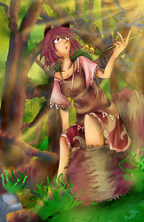 Morning of tanuki forest (+ making GIF by tinkatiranor