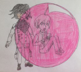 Kokichi trapping Shuichi in a Bubble by puffedcheekedblower