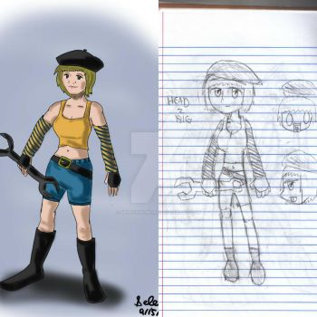 Wrench Beret Girl - A Redraw from 2007 by Selecthumor