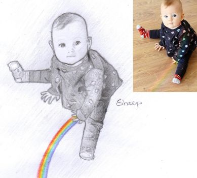 Reddit gets drawn: Baby and rainbow by SheepovaArt