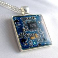 Blue Circuit Board Necklace by Techcycle