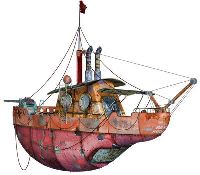 Steampunk Flying Tug Boat 02 PNG Stock by Roy3D