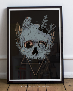 Skull and Frogs coloured art prints by KGArtDesign