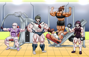Danganronpa Girls Group Workout - Collab 1/2 by WickedBust