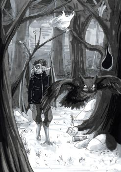 Follow the Owl Into the Creepy Forest by Gomis