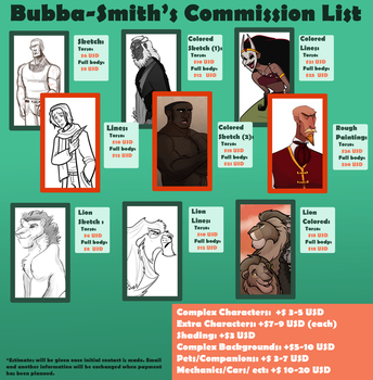 Bubba-Smith Commission List by Bubba-Smith