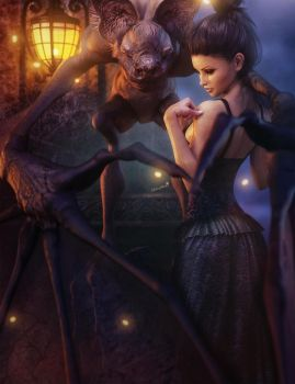 Dark Haired Girl with Gothic Creature, Fantasy Art by shibashake