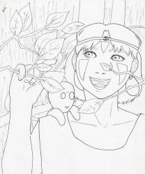 Mononoke Hime line art by animehotaru19