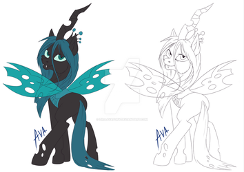 Chryss fullbody lineart and flat by ZiraAvaFury