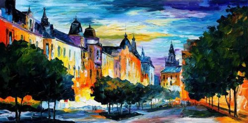 Night In Hamburg by Leonid Afremov by Leonidafremov