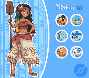 Disney Pokemon trainer : Moana by Pavlover