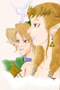 Princess Zelda and Link by MargieAnn