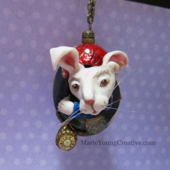 White Rabbit Egg Ornament by MarieYoungCreative