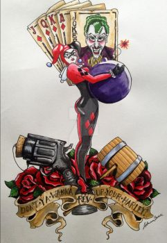 Harley Quinn Traditional Tattoo Style by skellykitten