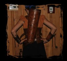 leather archer outfit back view by Lagueuse