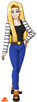 Android 18 With Long Hair 2018 by PerryWhite
