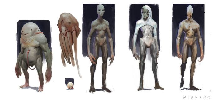Alien character concepts by thomaswievegg