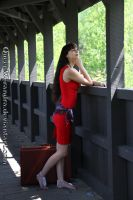 Red on the bridge by QueenWerandra