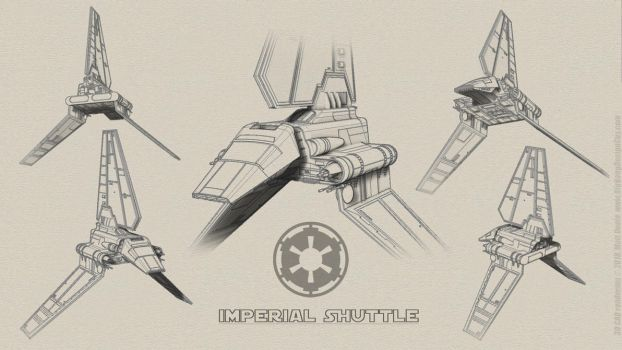 Imperial Shuttle Sketch Collage by Ravendeviant