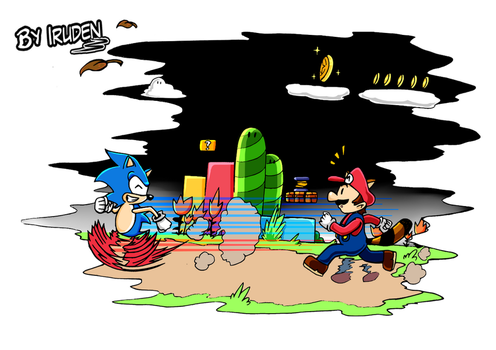 Mario and Sonic in the Retro Adventure by iruden