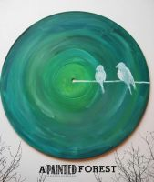 Birds On A Wire Vinyl Record Painting By