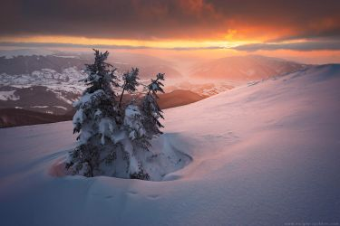 Beautiful sunset in winter Carpathians by Sergey-Ryzhkov