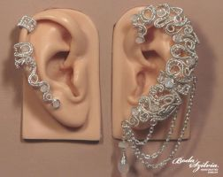 Angel ear wrap and cartilage ear cuff set by bodaszilvia